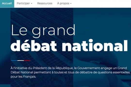 Le site Internet du grand débat national mis en ligne