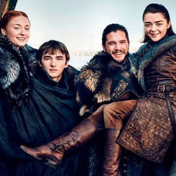 La familia Stark. Sansa Stark (Sophie Turner), Bran Stark (Isaac Hempstead-Wright) Jon Snow (Kit Harington ) y Arya Stark (Maisie Williams).