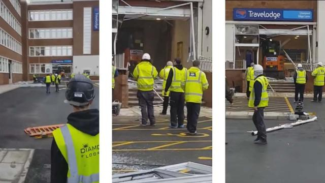 A construction worker repeatedly smashed a digger into a new Travelodge hotel over a pay dispute. [Image Silas/YouTube]