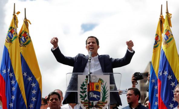 Juan Guaidó, este miércoles en Caracas. CARLOS GARCIA RAWLINS (REUTERS)