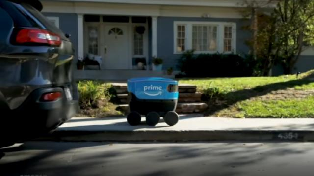 Amazon announces self-driving delivery device called 'Scout.' [Image source/CNBC Television YouTube video]