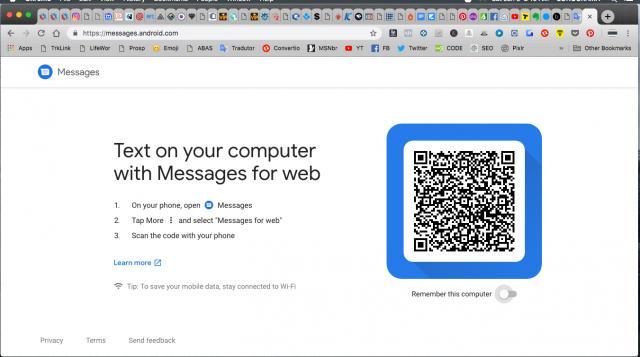 No navegador em seu computador do Chrome, Safari, Mozilla Firefox ou Microsoft Edge, visite messages.android.com e use SCAN QR CODE