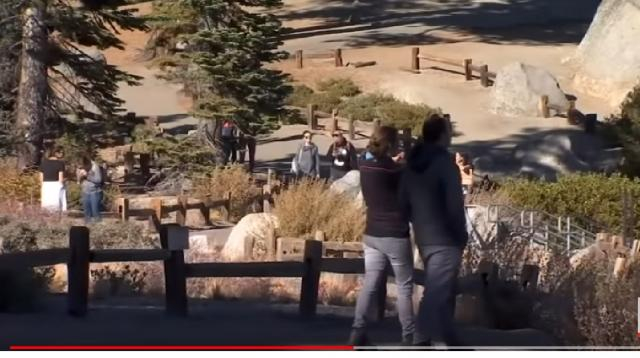 Tourists in Yosemite National Park. [Image source/Associated Press YouTube video]