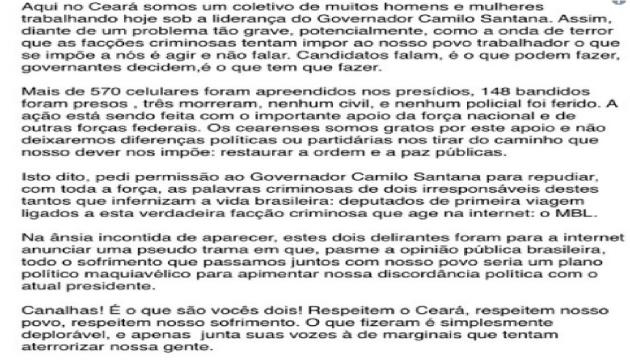 A nota de repúdio de Ciro Gomes ao deputados Kim Kataguiri e Arthur Moledo do Val, integrantes do MBL - Foto/Reprodução: Twitter