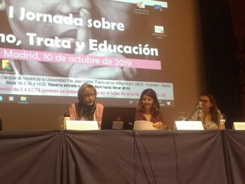 De izquierda a derecha: Ana Almarza del Proyecto Esperanza, Leticia Porto de URJC y Lidia Fernández de Plataforma 7N