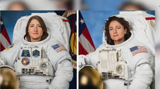 First all-female spacewalk scheduled this week. [Image source/Newsy YouTube video]