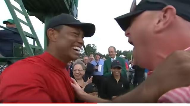 Tiger Woods final putt and celebration at the 2019 Masters Tournament. [Image Source: The Masters YouTube]