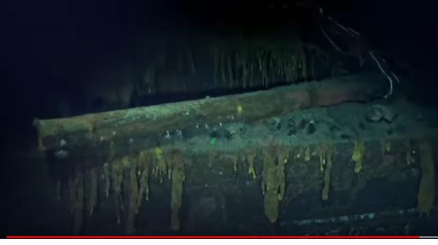 Wreck of Imperial Japanese Navy Carrier Kaga. [Image source/USNI News Video YouTube video]