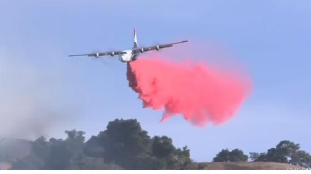 Kincade fire burns over 10,000 acres, at 0% containment. . [Image source/KPIX CB SF Bay Area YouTube video]
