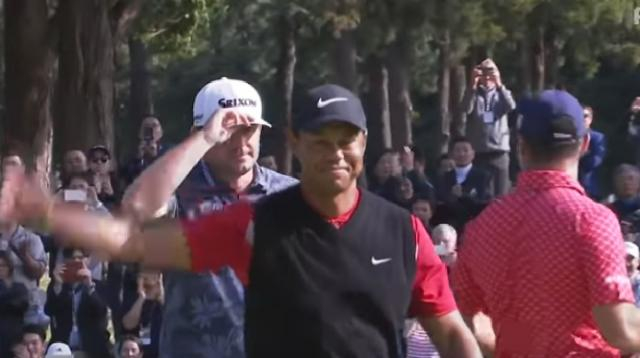 Tiger Woods claims 82nd PGA TOUR win at Zozo Championship 2019. [Image source/PGA TOUR YouTube video]