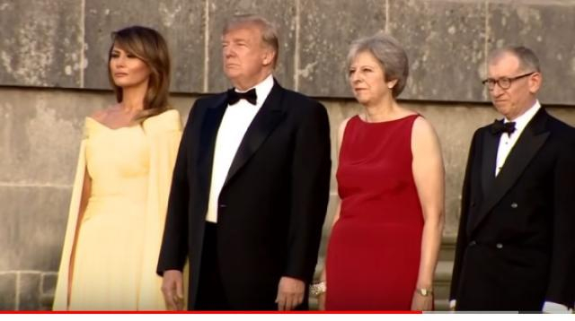 Trump arrives at Blenheim Palace. [Image source/BBC News YouTube video]