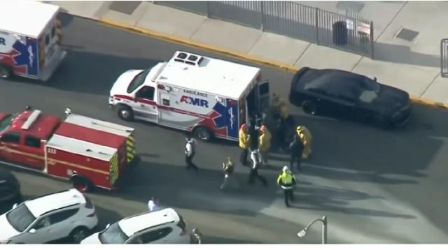16-year-old opens fire at Saugus High School in Southern California. [Image source/CBS News YouTube video]