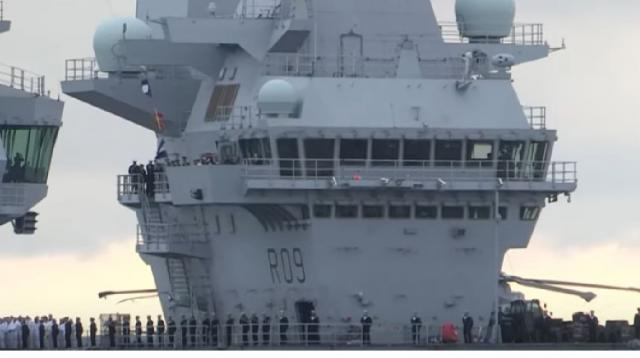 HMS Prince of Wales arrives. [Image source/Wight Media Services YouTube video]
