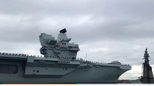 HMS Prince of Wales first time arriving into Portsmouth - Royal Navy. [Image source/RCISam YouTube video]