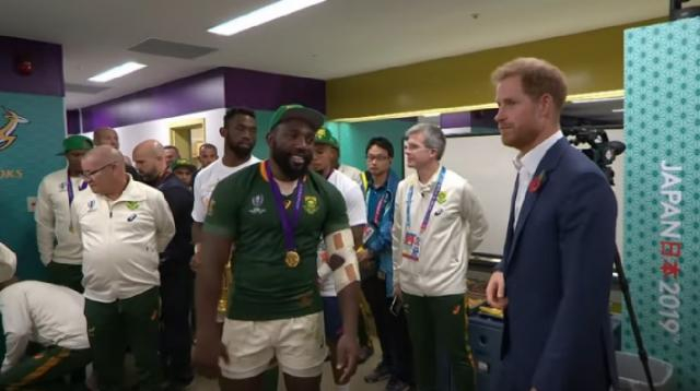 Prince Harry congratulates South African team on their victory. [Image source/The Telegraph YouTube video]