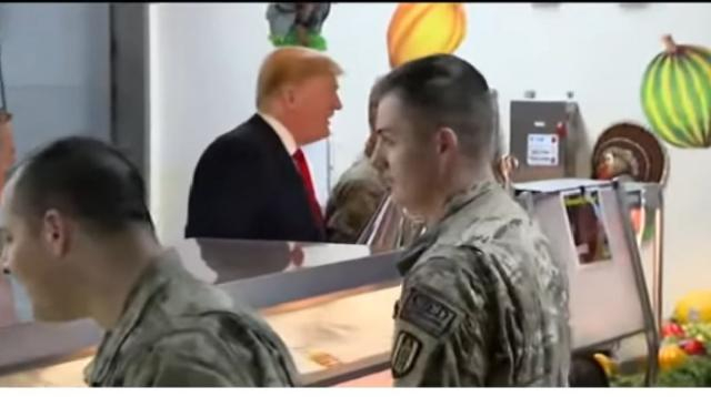 Trump makes surprise Thanksgiving visit to troops in Afghanistan. [Image source/Fox News YouTube video]