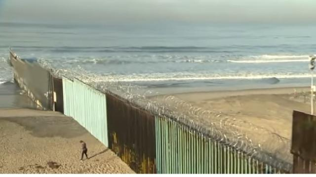A view of the US-Mexico border wall. [Image source/ABC News YouTube video]