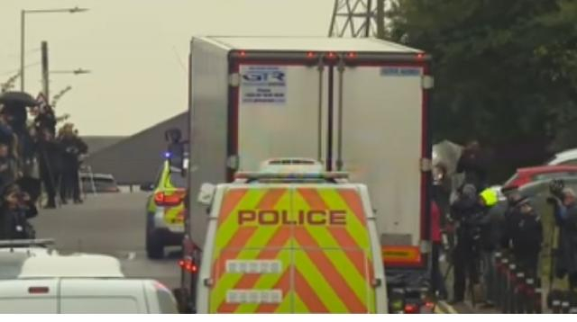 Police try to identify 39 bodies found in container. [Image source/Sky News YouTube video]