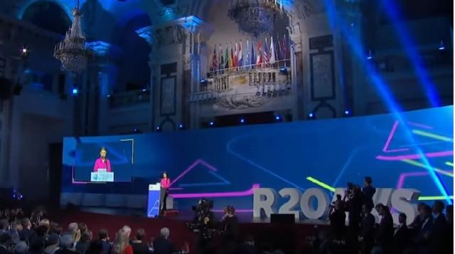 Greta Thunberg's speech at the R20 Austrian World Summit, Vienna, May 2019. [Image source/EKOenergy YouTube video]