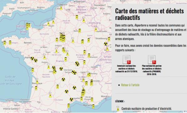 Carte des matières et des déchets radioactifs de Reporterre