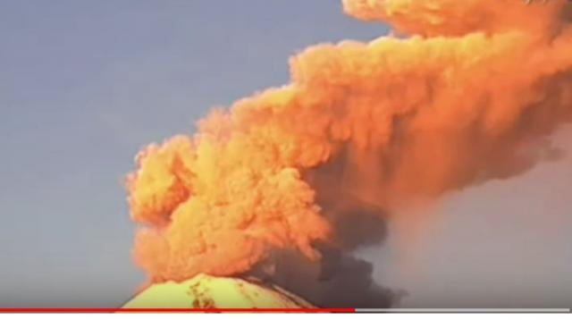 Mexico's Popocatepetl Volcano erupts, spewing smoke, ash. [Image source/VOA News YouTube video]