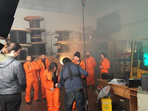 Momento de rodaje en el spot que participaron los actores alicantinos