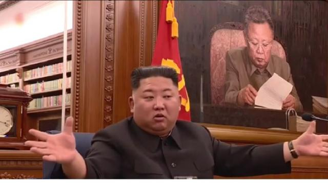 Kim Jong-un holds extended party meeting. [Image source/KBS News YouTube video]