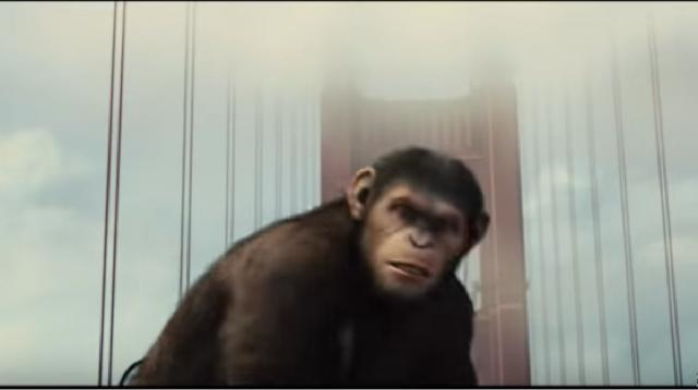 Apes vs Humans - Bridge Battle - Rise of the Planet of the Apes (2011). [Image source/BestClips YouTube video]