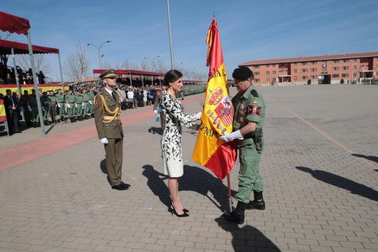 La Reina oficialmente entrega la bandera al jefe del regimiento