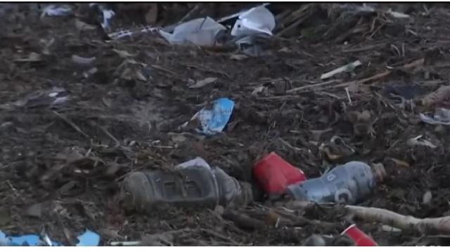 Local Beaches Trashed. [Image source/CBS Los Angeles YouTube video]