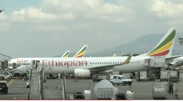 An Ethiopian Airlines plane. [Image source/CBS Sunday Morning YouTube video]