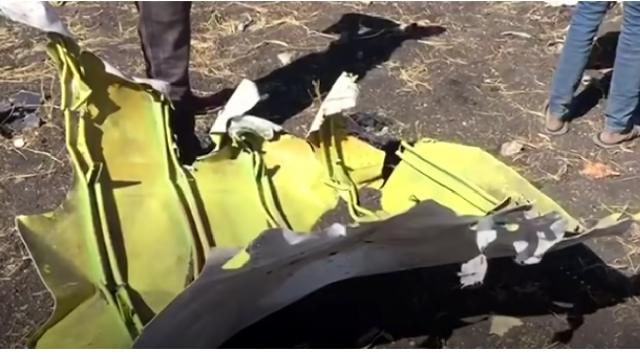 Scenes from the crash site of Ethiopian Airlines plane. [Image source/NBC News YouTube video]