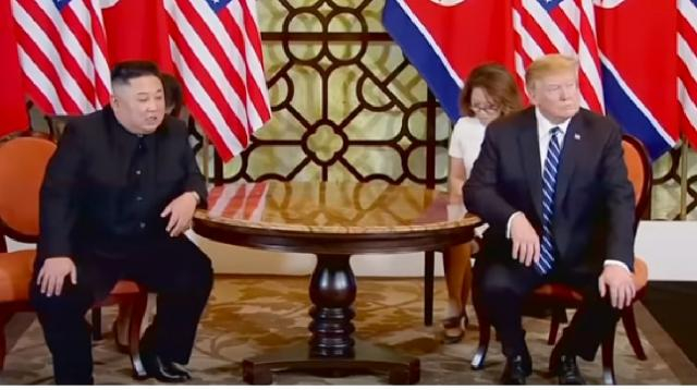 Trump-Kim nuclear talks in Hanoi break down. [Image source/Guardian News YouTube video]