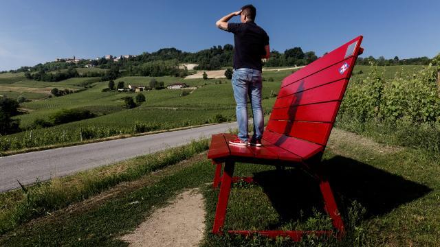 Panchina gigante e sullo sfondo i vigneti delle Langhe (Piemonte Italia)