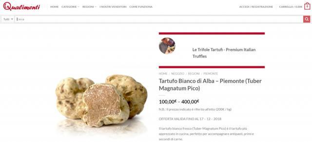 Un esempio di alimento descritto sul sito Qualimenti