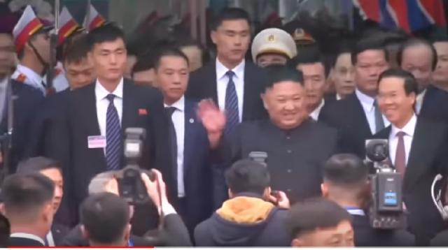 Kim Jong Un arrives in Vietnam. [Image source/Financial Times YouTube video]