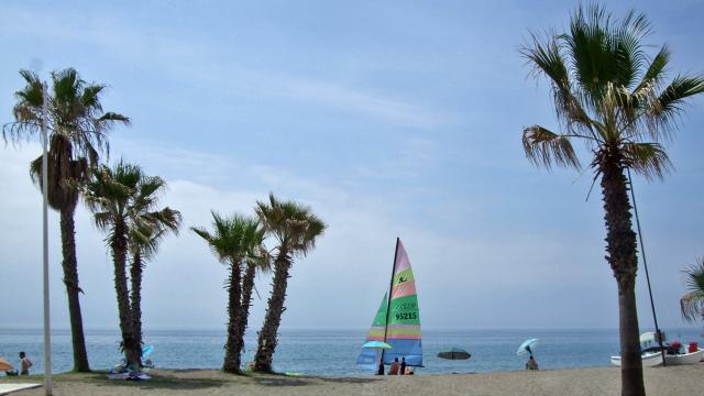 The beach in La Cala de Mijas, Costa del Sol, Spain [Image Anne Sewell]