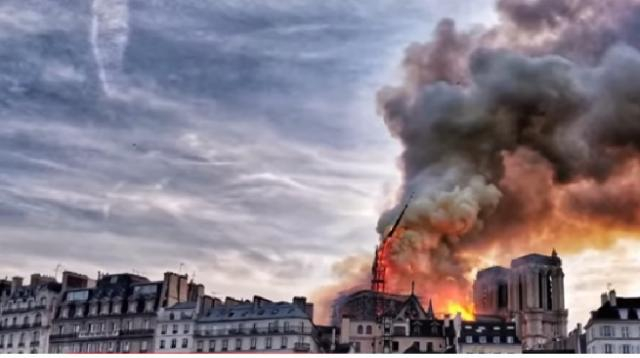 Massive fire erupts at iconic Notre Dame Cathedral in Paris. [Image source/NBC News YouTube video]