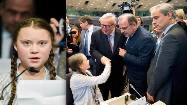 La Thunberg stringe la mano a Jean Claude Juncker