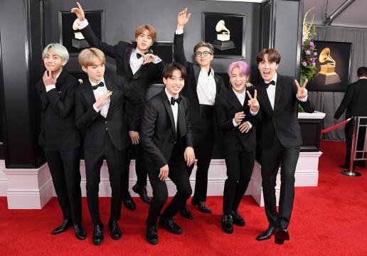 BTS Wears Custom Korean Tuxedos on the Grammys Red Carpet - Vogue - vogue.com