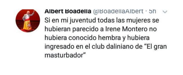 El tuit que motivó la salida momentánea del dramaturgo de Twitter, donde ataca a Irene Montero de manera primaria.