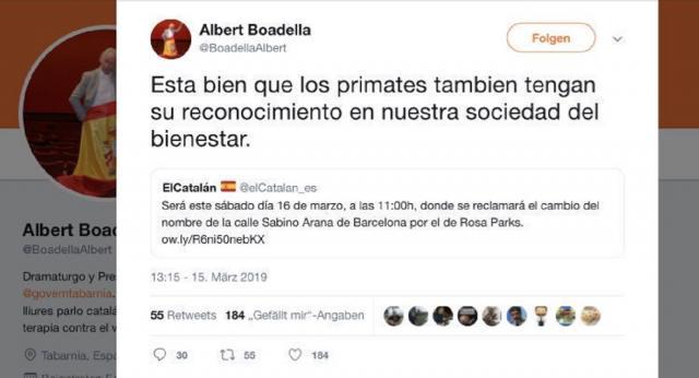 Otro polémico tuit de Boadella llamando primate a Rosa Parks, aunque él quería decírselo al fundador del PNV.