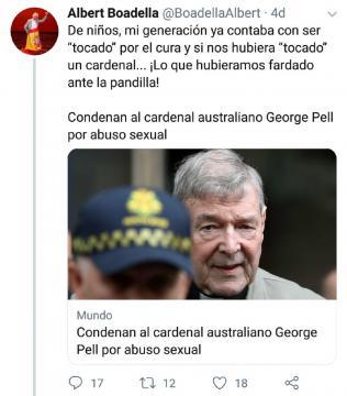 Tuit de Albert Boadella sobre el Cardenal australiano condenado por encubrir a curas pederastas.