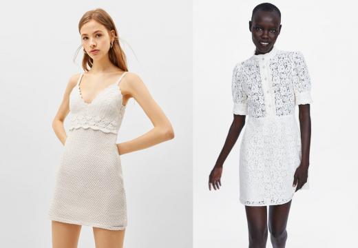Vestido blanco que podemos encontrar en Bershka.