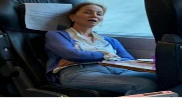 Isabel Preysler cazada durmiendo en el AVE