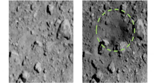 El primer cráter artificial de la historia. - jaxa.