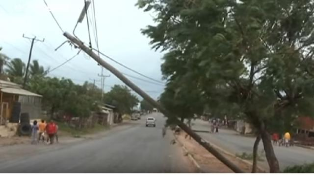Cyclone Kenneth pounds Mozambique. [Image source/euronews(in English) YouTube video]