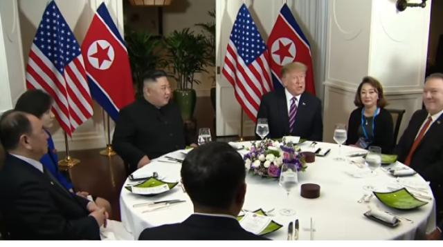 Donald Trump, Kim Jong Un share dinner in Vietnam during 2nd summit. [Image source/Global News YouTube video]