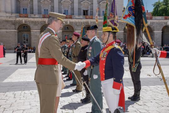 El rey saluda a los mandos que dirigieron las fuerzas de la celebración