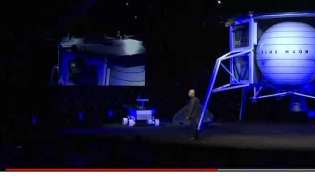 Jeff Bezos unveils Blue Origin's new 'Blue Moon' Lunar Lander. [Image source/ NBC News YouTube]